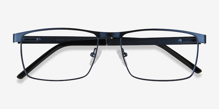 Danno Navy Metal Eyeglass Frames from EyeBuyDirect, Closed View