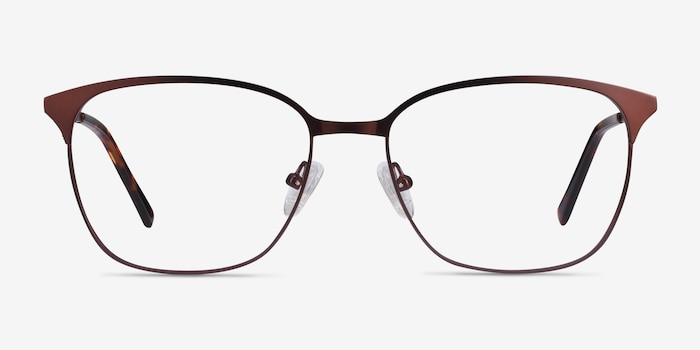 Avenue Brown Metal Eyeglass Frames from EyeBuyDirect, Front View