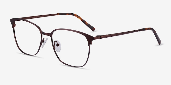 Avenue Brown Metal Eyeglass Frames from EyeBuyDirect, Angle View