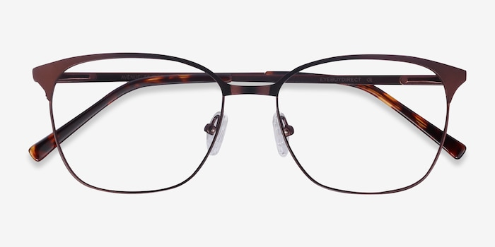 Avenue Brown Metal Eyeglass Frames from EyeBuyDirect, Closed View