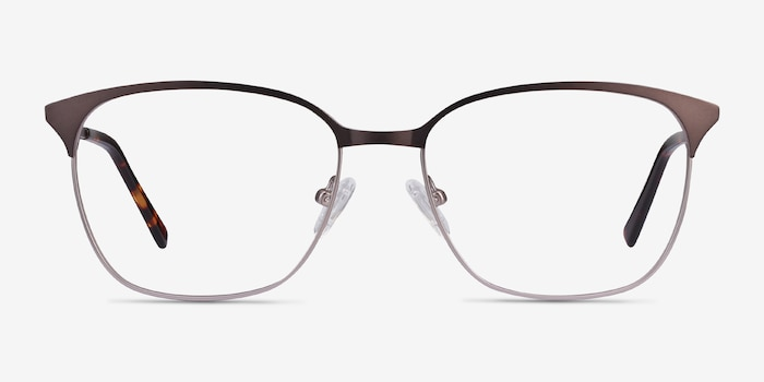 Avenue Gunmetal Metal Eyeglass Frames from EyeBuyDirect, Front View