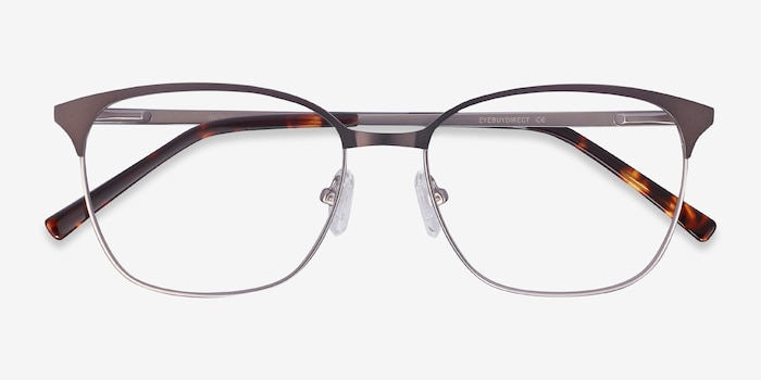 Avenue Gunmetal Metal Eyeglass Frames from EyeBuyDirect, Closed View