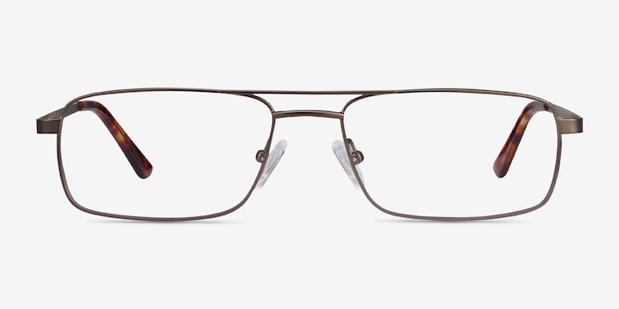 Maverick Brown Metal Eyeglass Frames from EyeBuyDirect, Front View