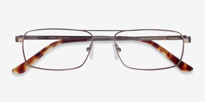 Maverick Brown Metal Eyeglass Frames from EyeBuyDirect, Closed View