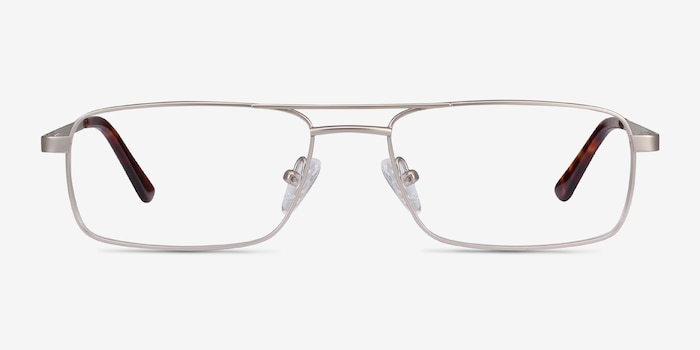 Maverick Silver Metal Eyeglass Frames from EyeBuyDirect, Front View