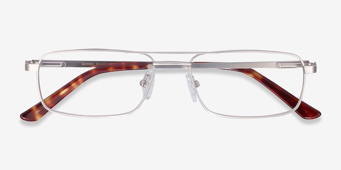 Maverick Silver Metal Eyeglass Frames from EyeBuyDirect, Closed View