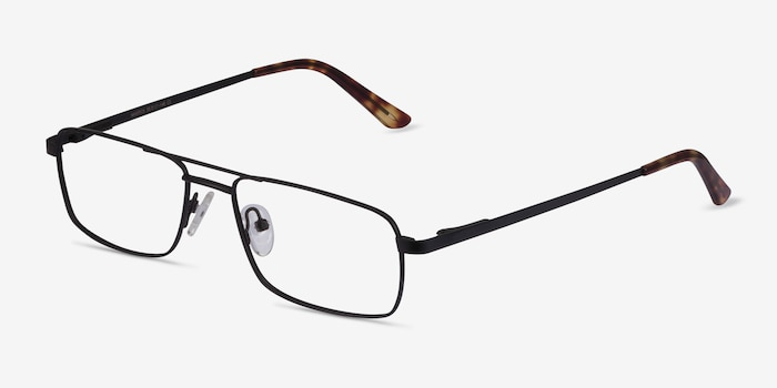 Maverick Black Metal Eyeglass Frames from EyeBuyDirect, Angle View