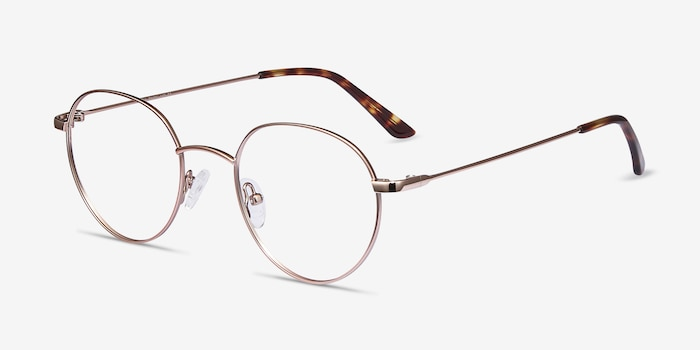 Retell Rose Gold Metal Eyeglass Frames from EyeBuyDirect, Angle View