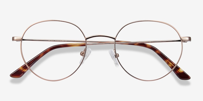 Retell Rose Gold Metal Eyeglass Frames from EyeBuyDirect, Closed View