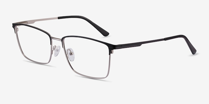 Castle Black Metal Eyeglass Frames from EyeBuyDirect, Angle View