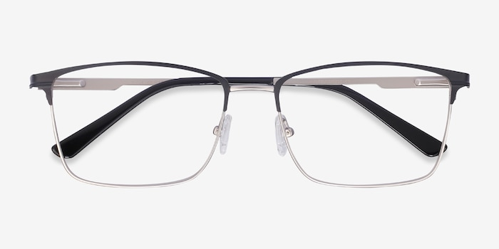 Castle Black Metal Eyeglass Frames from EyeBuyDirect, Closed View