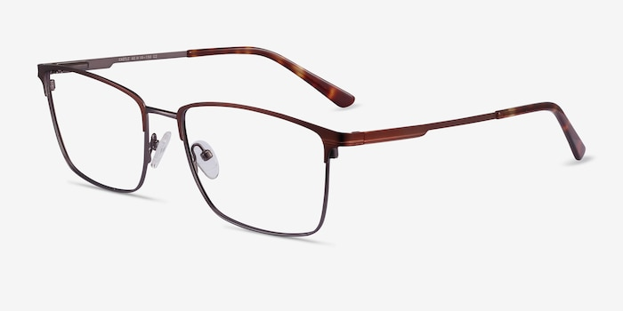 Castle Coffee Metal Eyeglass Frames from EyeBuyDirect, Angle View