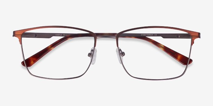 Castle Coffee Metal Eyeglass Frames from EyeBuyDirect, Closed View