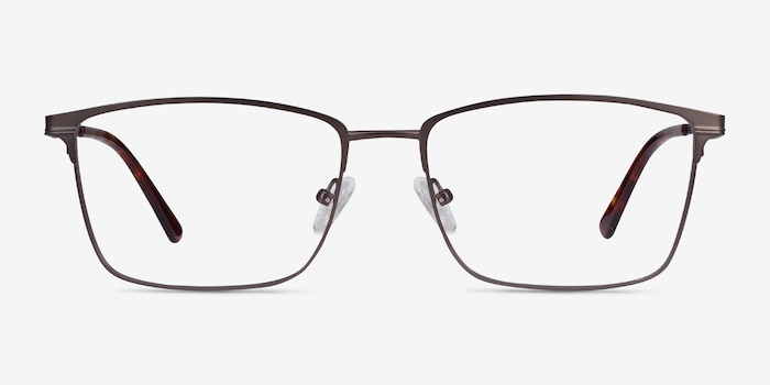 Castle Gunmetal Metal Eyeglass Frames from EyeBuyDirect, Front View