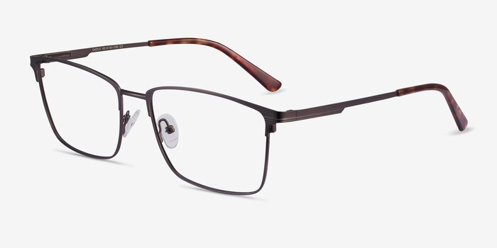 Castle Gunmetal Metal Eyeglass Frames from EyeBuyDirect, Angle View