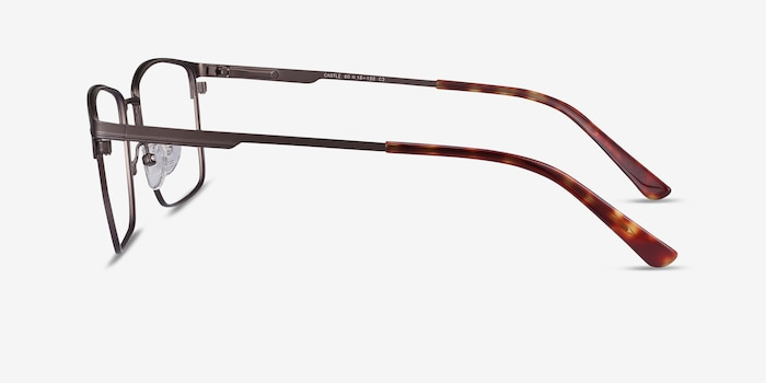 Castle Gunmetal Metal Eyeglass Frames from EyeBuyDirect, Side View