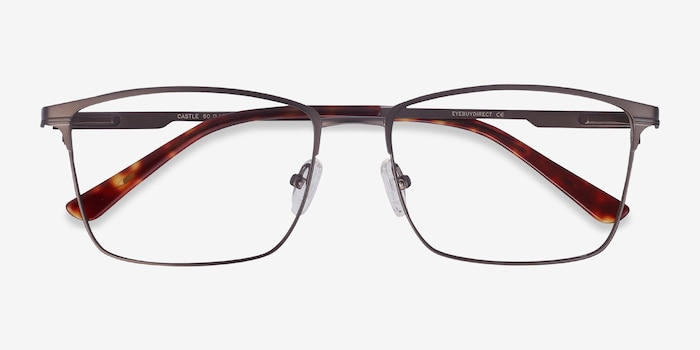 Castle Gunmetal Metal Eyeglass Frames from EyeBuyDirect, Closed View