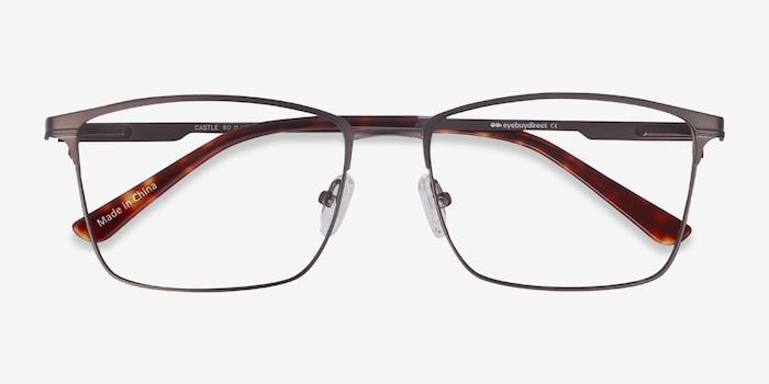 Castle Gunmetal Metal Eyeglass Frames from EyeBuyDirect, Closed View