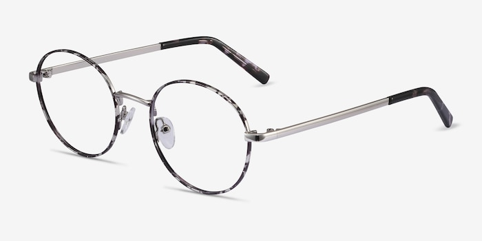 Aero Gray Floral Metal Eyeglass Frames from EyeBuyDirect, Angle View