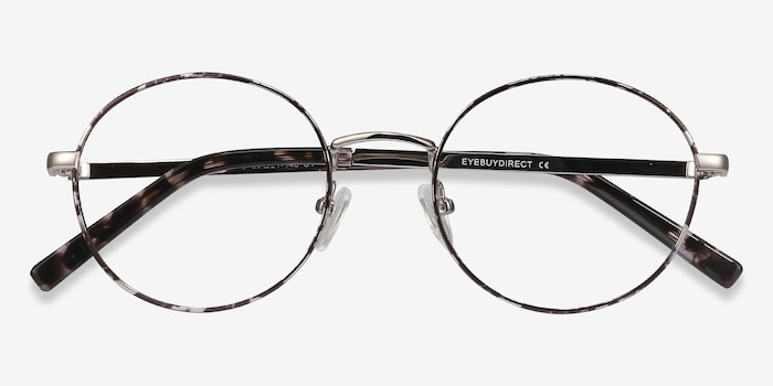 Aero Gray Floral Metal Eyeglass Frames from EyeBuyDirect, Closed View