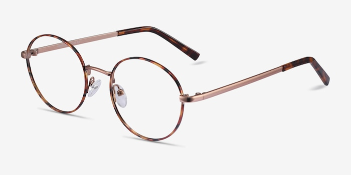 Aero Tortoise Golden Metal Eyeglass Frames from EyeBuyDirect, Angle View