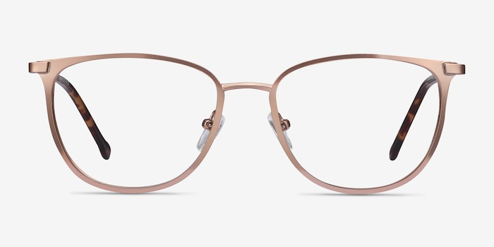 Shimmer Rose Gold Metal Eyeglass Frames from EyeBuyDirect, Front View