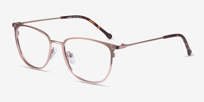 Shimmer Rose Gold Metal Eyeglass Frames from EyeBuyDirect, Angle View