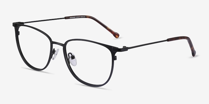 Shimmer Black Metal Eyeglass Frames from EyeBuyDirect, Angle View