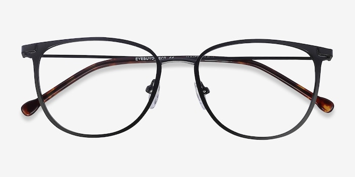 Shimmer Black Metal Eyeglass Frames from EyeBuyDirect, Closed View