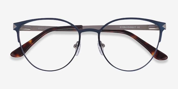 Nadia Blue Metal Eyeglass Frames from EyeBuyDirect, Closed View