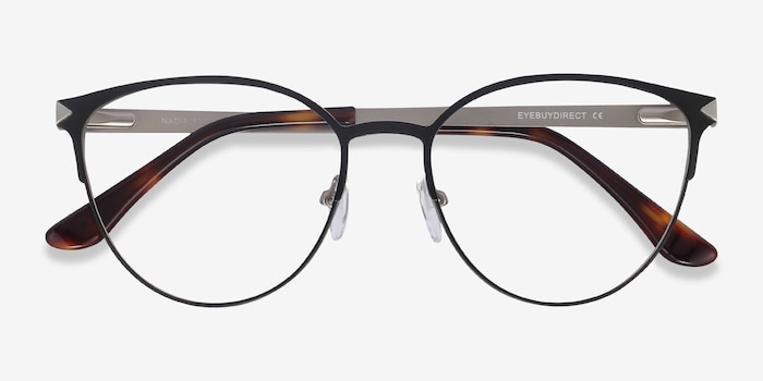 Nadia Black Metal Eyeglass Frames from EyeBuyDirect, Closed View
