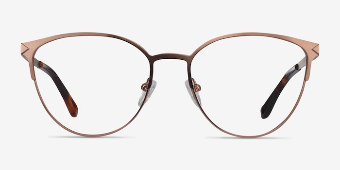 Nadia Rose Gold Metal Eyeglass Frames from EyeBuyDirect, Front View