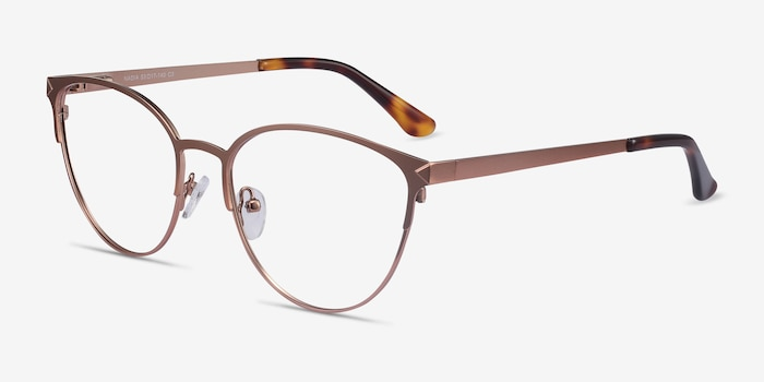 Nadia Rose Gold Metal Eyeglass Frames from EyeBuyDirect, Angle View