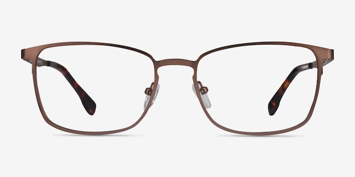 Dakota Brown Metal Eyeglass Frames from EyeBuyDirect, Front View