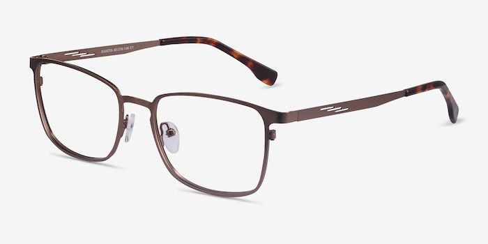 Dakota Brown Metal Eyeglass Frames from EyeBuyDirect, Angle View