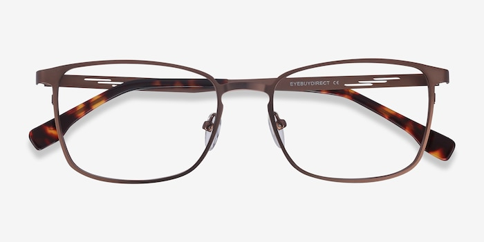 Dakota Brown Metal Eyeglass Frames from EyeBuyDirect, Closed View
