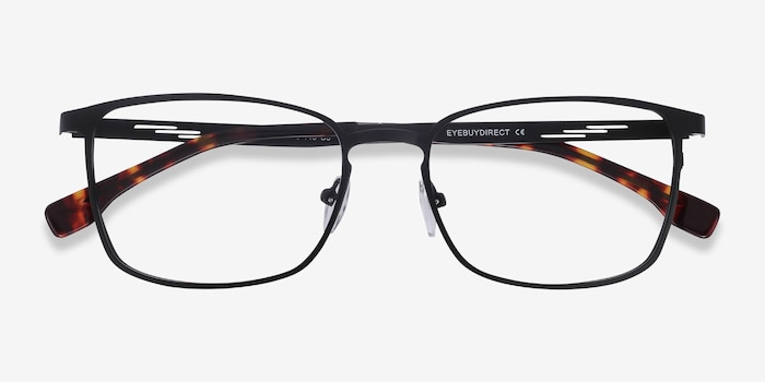 Dakota Black Metal Eyeglass Frames from EyeBuyDirect, Closed View
