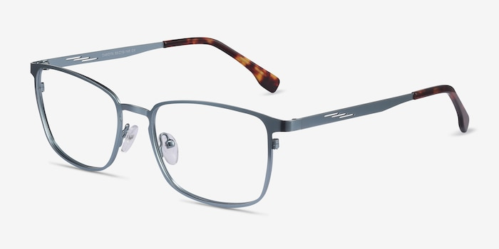 Dakota Blue Metal Eyeglass Frames from EyeBuyDirect, Angle View