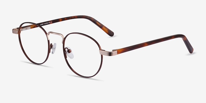 Orbit Brown Metal Eyeglass Frames from EyeBuyDirect, Angle View