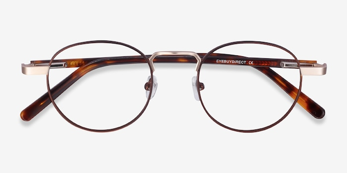 Orbit Brown Metal Eyeglass Frames from EyeBuyDirect, Closed View