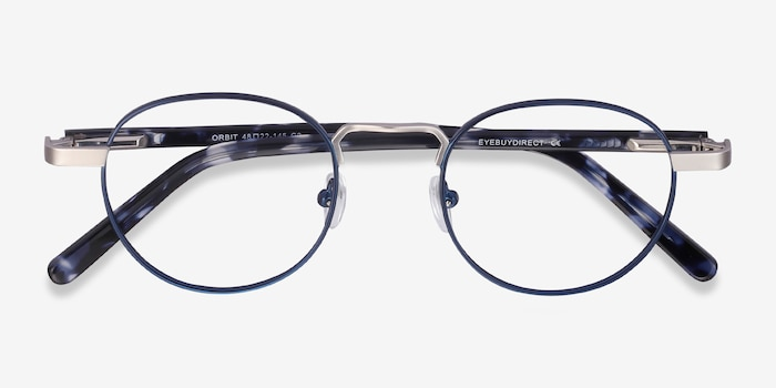 Orbit Blue Acetate-metal Eyeglass Frames from EyeBuyDirect, Closed View