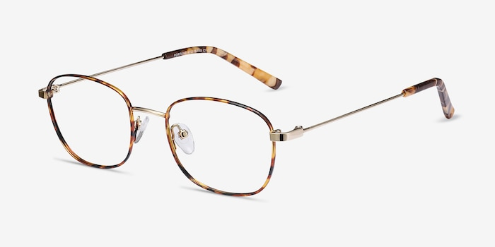 Fortune Tortoise Metal Eyeglass Frames from EyeBuyDirect, Angle View