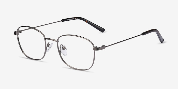 Fortune Gunmetal Metal Eyeglass Frames from EyeBuyDirect, Angle View