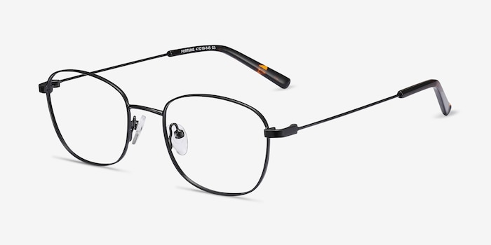 Fortune Black Metal Eyeglass Frames from EyeBuyDirect, Angle View