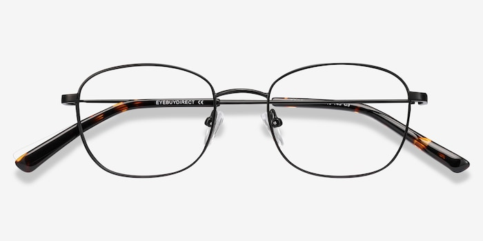 Fortune Black Metal Eyeglass Frames from EyeBuyDirect, Closed View