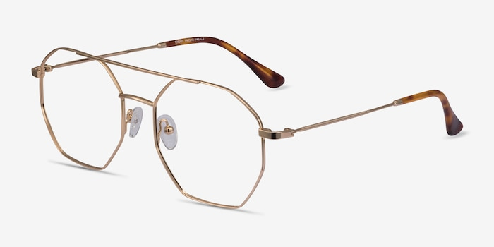 Eight Golden Metal Eyeglass Frames from EyeBuyDirect, Angle View