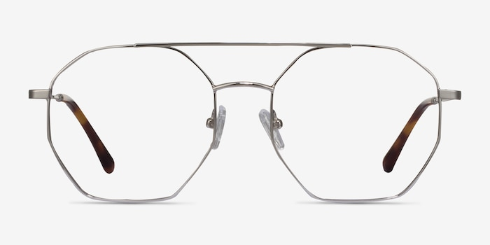 Eight Silver Metal Eyeglass Frames from EyeBuyDirect, Front View