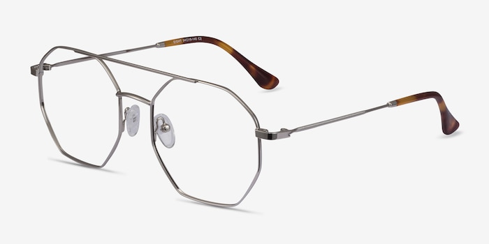 Eight Silver Metal Eyeglass Frames from EyeBuyDirect, Angle View