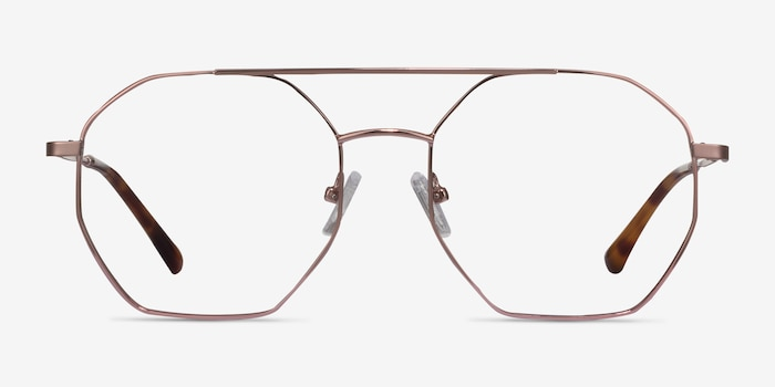 Eight Rose Gold Metal Eyeglass Frames from EyeBuyDirect, Front View