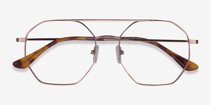 Eight Rose Gold Metal Eyeglass Frames from EyeBuyDirect, Closed View